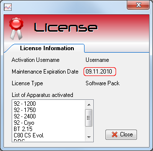 AKTS-Calisto License Window