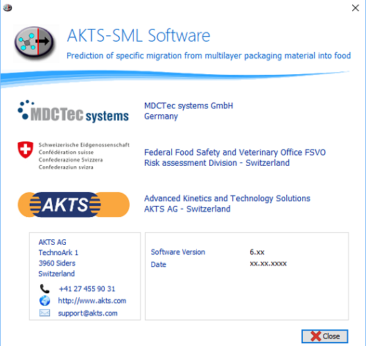 AKTS-SML About Window, Software Version