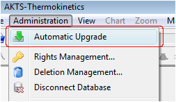 AKTS-Thermokinetics automatic upgrade menu