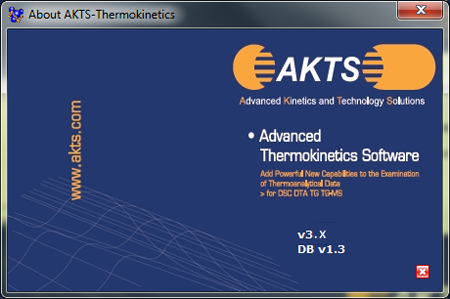 AKTS-Thermokinetics About Window, Software Version